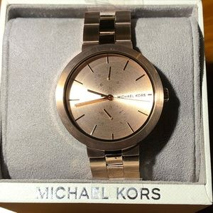 Michael Kors Authentic Rose Gold Dual Time Watch!